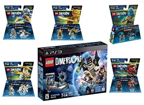 Lego Dimensions Ninjago Starter Pack + Jay + LLoyd + Nya + Zane + Sensei Wu Fun Packs for Playstation 3 or PS3 Console by WB Lego