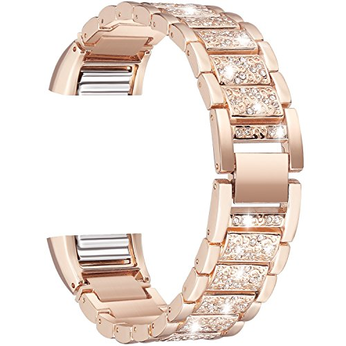 Alotm For Fitbit Charge 2,Replacement Metal Bands with Rhinestone Bling Adjustable Fitbit Charge 2 Bands Bracelet Black Silver Rose Gold (Rose Gold)