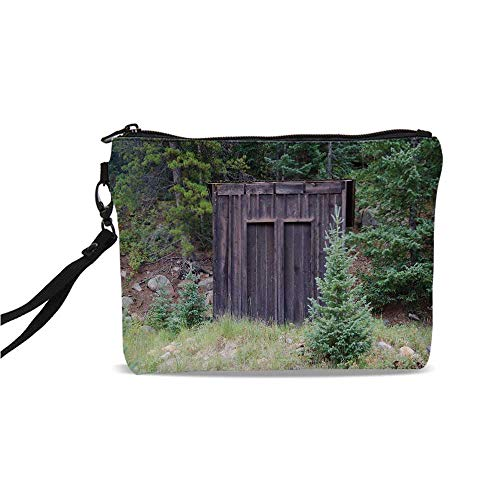 Outhouse Simple Cosmetic Bag,Farm Life House Wooden Door of Cottage Hut in Woodland Leaves Art Print for Women,9