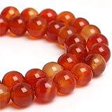 Sweet Happy Girl's 6mm Round Red Carnelian Beads Strand 15 Inch Jewelry Making Beads