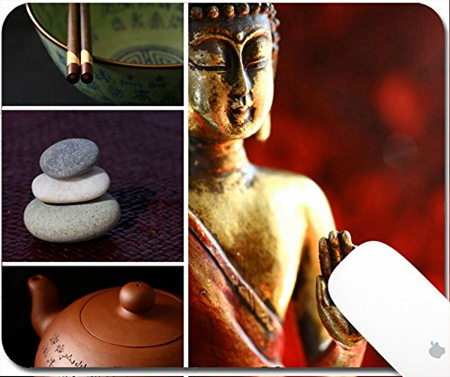 Luxlady Gaming Mousepad Composition of images buddha stones teapot chopsticks Zen lifestyle 9.25in X 7.25in IMAGE: 3395808