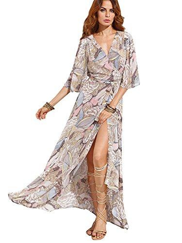 Milumia Womens Boho Deep V Neck Floral Chiffon Wrap Split Long Maxi Dress