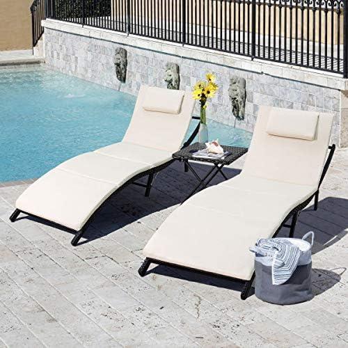 Tuoze Outdoor Patio Chaise Lounge Sets Adjustable Rattan Patio Folding Chaise Lounge