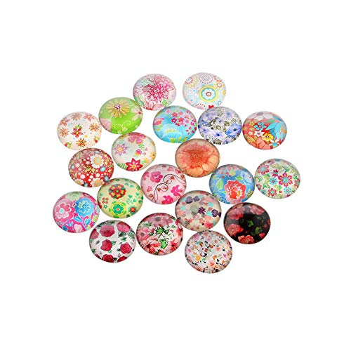 NBEADS 200PCS 12MM Flat Back/Dome Floral Printed Glass Cabochons Cameo Pendant Cabochon for Jewellery Making ()