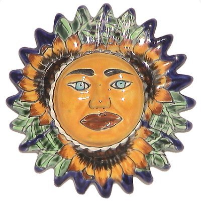 Sunflower Small Talavera Ceramic Sun (Hand Painted Mexican Pottery)