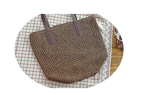 - Handbags Straw Fashion Messenger Bags Summer Beach Bag Large Capacity Tote Bag C49,Dark Coffee,(one size)
