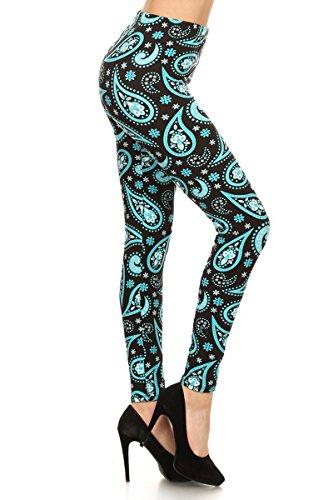 R621-3X5X Aqua Paisley Print Fashion Leggings ()