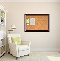 Framed Cork Board Large, Cambridge Mahogany Wood: Outer Size 40 x 28\
