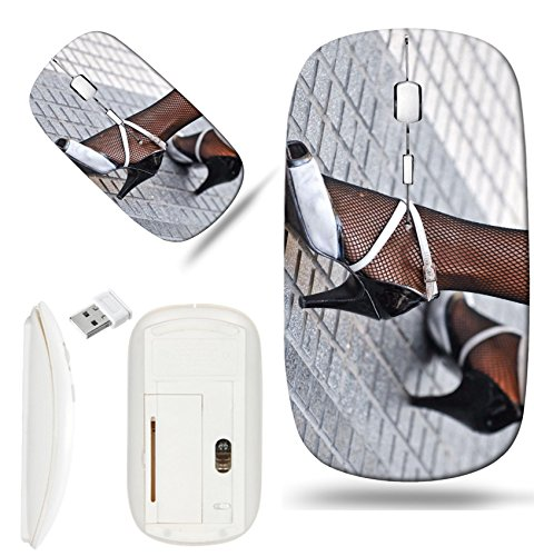 Luxlady Wireless Mouse White Base Travel 2.4G Wireless Mice with USB Receiver, 1000 DPI for notebook, pc, laptop, computer, mac design IMAGE ID 2790432 Feet of a woman in tango - Light 4 Tango