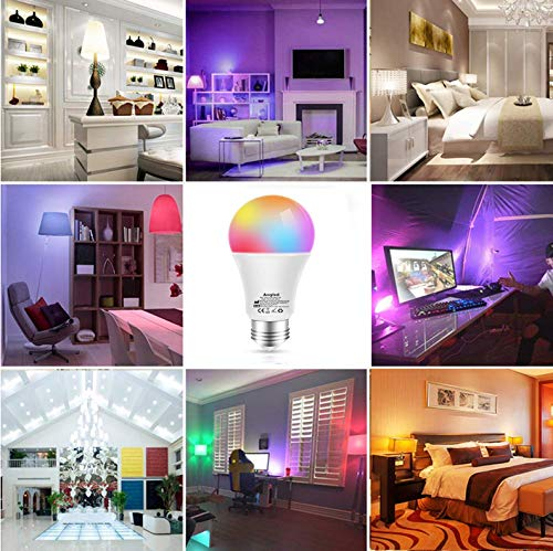Bombillas Inteligentes LED WiFi Aogled E27 9W Regulable,Alexa bombillas LED RGBCW Mood con control remoto, funciona con Amazon y Google Home, no requiere concentrador, paquete de 2