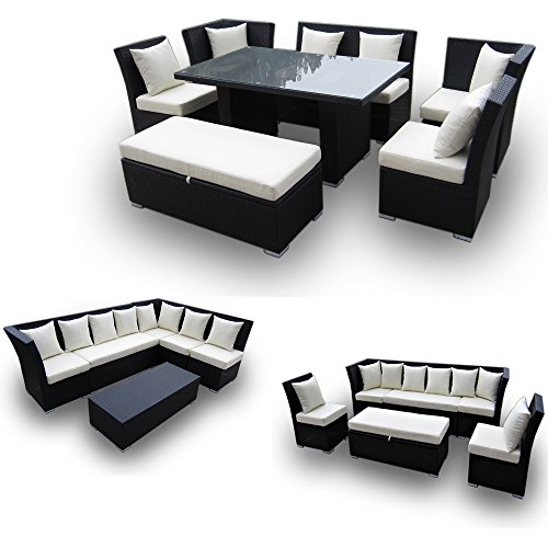 jamaican 7 piece outdoor patio sectional dining and sofa set with wicker brown and fabric ivory. Black Bedroom Furniture Sets. Home Design Ideas