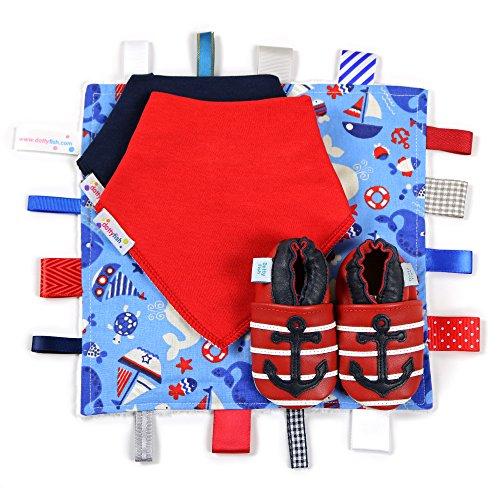 Dotty Fish Leder Babyschuhe Geschenkbox - Baby Jungen und Mädchen - 0-6 Monate, 6-12 Monate, 12-18 Monate, 18-24 Monate Rote und Marine-Anker