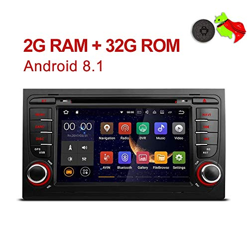 MCWAUTO Android 8.1 Car GPS Stereo Compatible Audi A4 S4 RS4 2002 2003 2004 2005 2006 2007 2008 Quad Core BT Radio RDS USB Mirrorlink SWC Reverse Camera