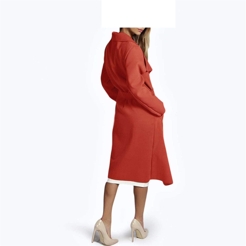 Carol Chambers New Winter Coat Women Wide Lapel Belt Pocket Coat Oversize Long Red Trench Coat Outwear Coat Women