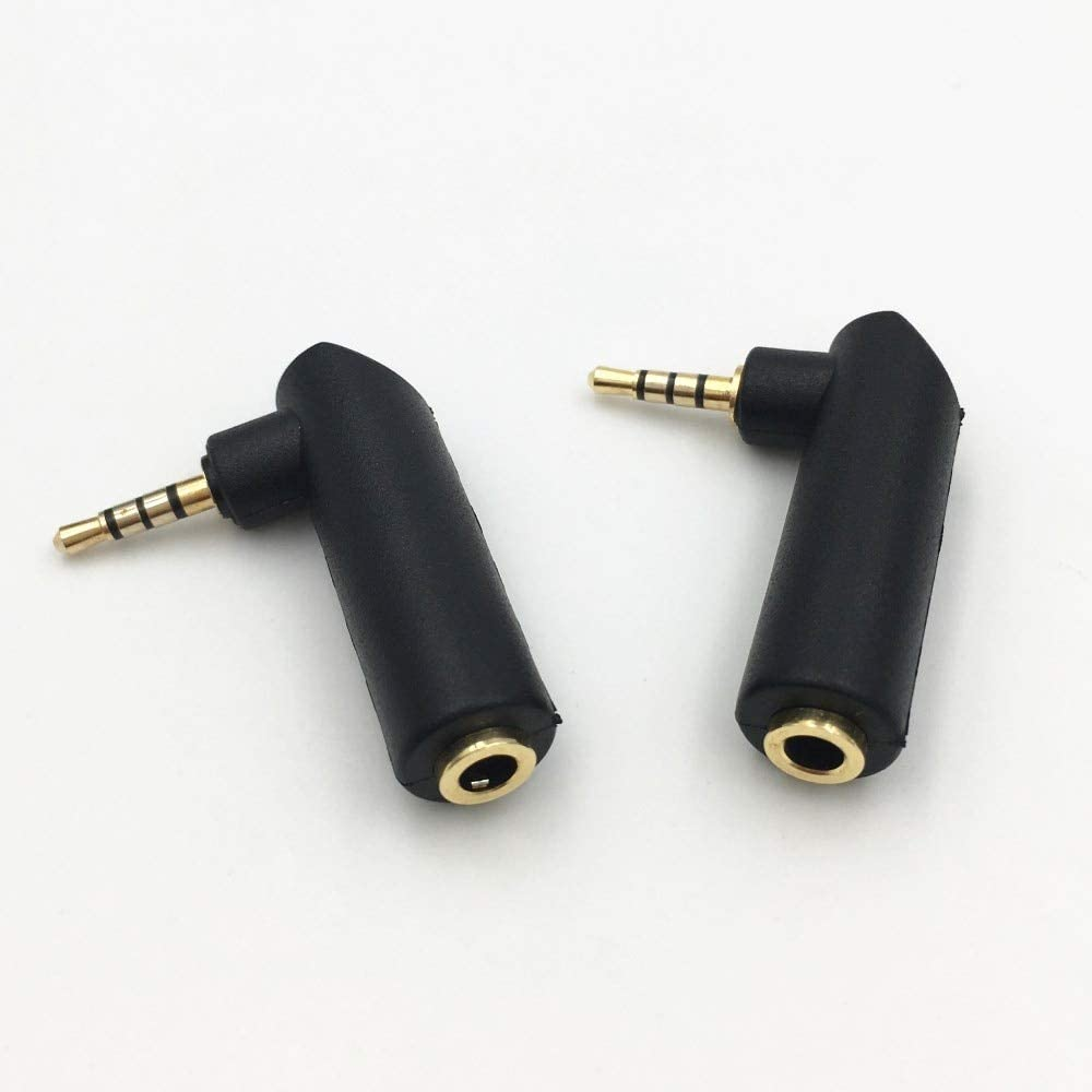 Audio Plugs 100Pcs Right Angle 2.5mm 4 Pole Stereo Male Jack to 3.5mm Female Plug Earphone Adapter DIY Gold Plated Connector Mercury/_Group