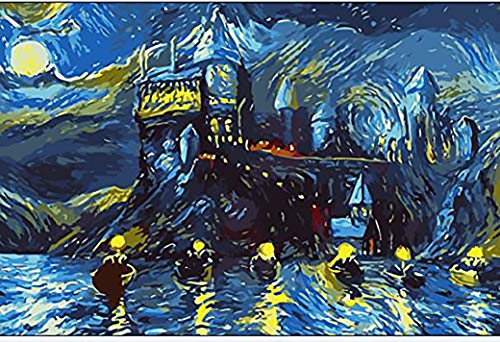 Westlake Art - Starry Night Castle Paint By Numbers Kit - 12x16 in Perfect For Children Adult Gift Includes Brush Easy Painting Framed Ready to Hang DIY