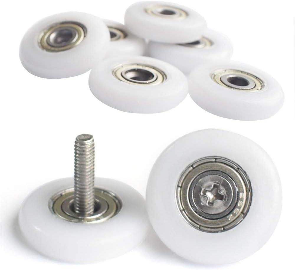 YUANQIAN - Ruedas de ducha para puerta de ducha, 19 mm, ruedas de mampara de ducha, 8 unidades con tornillos: Amazon.es: Bricolaje y herramientas