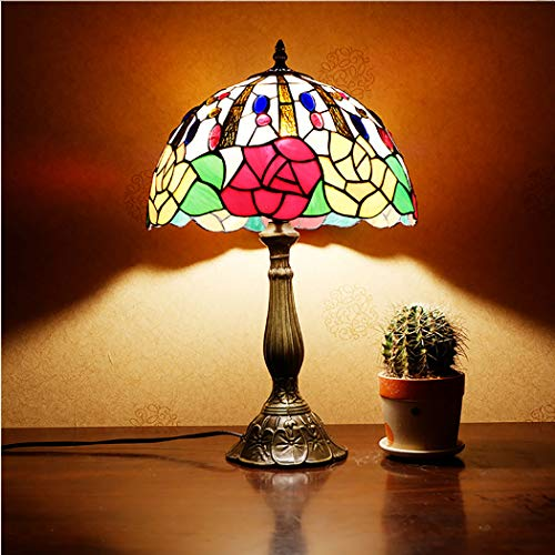 12 inch Warm Bedroom Bedside Lamp, Tiffany Style Stained Glass Table Lamp, E27 Retro Rose and Jewelled Design Nightstand Desk Lamp for Living Room, - Glass Rose Jeweled Stained