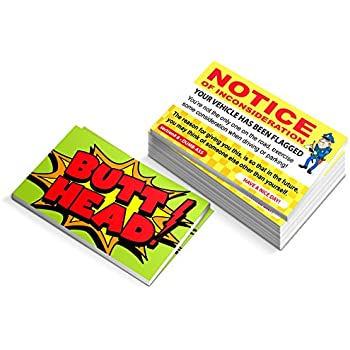 Fake Parking Ticket Prank - Notice of Inconsideration - Funny Joke Business Card Gag - Bad Parking Cards - Box of 100