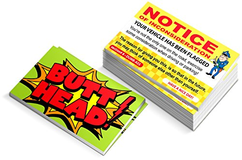 Funny Parking Ticket Prank - Notice of Inconsideration Joke Business Card Gag - Bad Parking Cards - Box of - Parking Bad Tickets