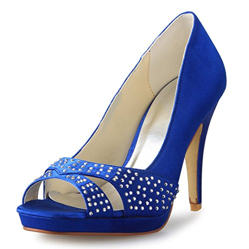 Plattform JIA Damen Strass Hochzeitsschuhe JIA Pumps Heels Toe High 85566 Blau Peep Brautschuhe Satin wBdzdq
