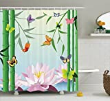 Ambesonne Butterflies Decoration Collection, Butterflies on the Branch of Lotus Bamboo Flower Exotic Nature Mod Graphic Art Home, Polyester Fabric Bathroom Shower Curtain Set with Hooks, Multi