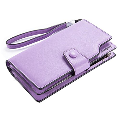 Women's Large Capacity PU Leather Clutch Wallet Card Holder Money Organizer Ladies' Purse with Wristlet Strap (Violet)