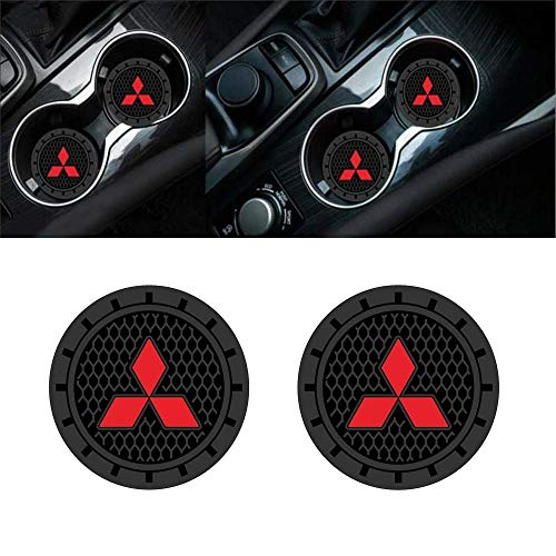 Mitsubishi Outlander Used (Auto sport 2.75 Inch Diameter Oval Tough Car Logo Vehicle Travel Auto Cup Holder Insert Coaster Can 2 Pcs Pack (Mitsubishi))