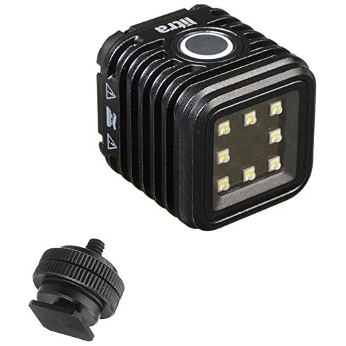 LitraTorch Waterproof Dimmable 8-LED Digital Camera / Camcorder Video Light For DSLR and Action Cameras w/ Ivation On-Camera Hotshoe Mounting Solution