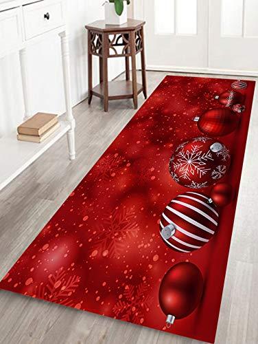 WSHINE 15.7 47.2 Christmas Decor Floor Runner Rug Red Snowflake Ball Kitchen Mats Indoor Outdoor Doormat Window Room Mat