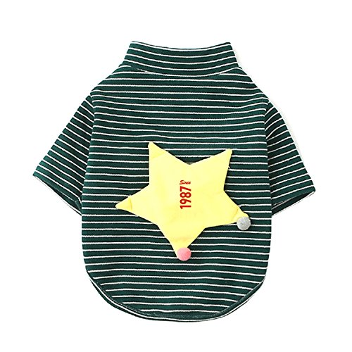 [Long Sleeves Stripe Pet Dog Clothes Tee Shirts 30th Birthday Since 1987 Embroidery Pet Costume] (1987 Halloween Costumes)
