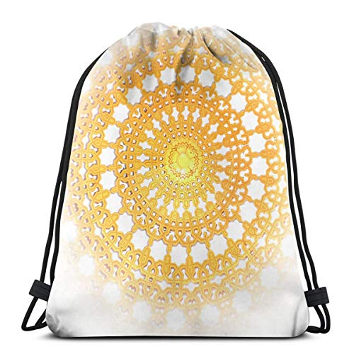 KIENGG Golden Hollowed Out Disk Unisex Drawstring Beam Port Bag,Fashion Gym Outdoor Sports Portable Travel Backpack Dust Storage Shoulders - Guardian Disc Angel