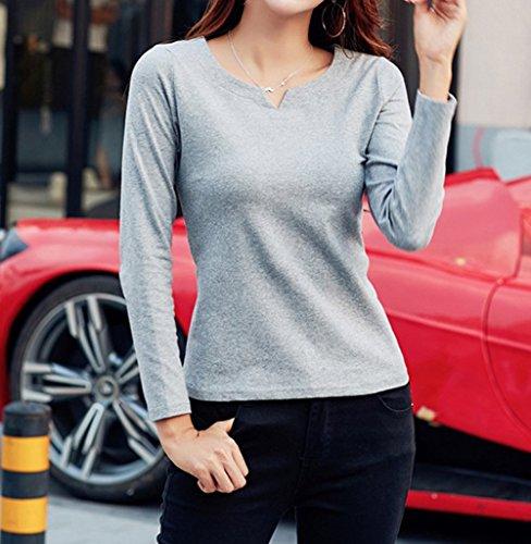 Couleur Shirts Tops Printemps Casual Manches Hauts Blouse Slim Gris Tees Jumpers Automne New Femmes Chemisiers Unie T Longues et YHRzAxw