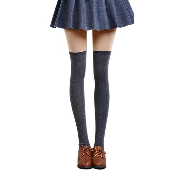 Coversolate Mujer Algodón Calcetines hasta la rodilla Medias (Gris oscuro)