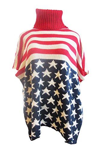 Hot Trendz Womens Batwing Knit Crochet USA Flag Coat Sweater Pullover Cape - Women Hot American