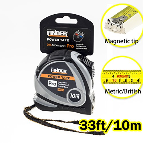 Finder 33Ft 10M Tape Measure Inch Cm Metric Inches And Sturdy Retractable Professional Measurement With Magentic Hook Fast Read Heavy Duty Front Side Ruler Durable For Intensive Use Extra Long