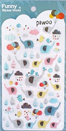 Funny Sticker World Pawoo Elephant Epoxy Sticker Sheet~KAWAII!! (Funny Sticker World)