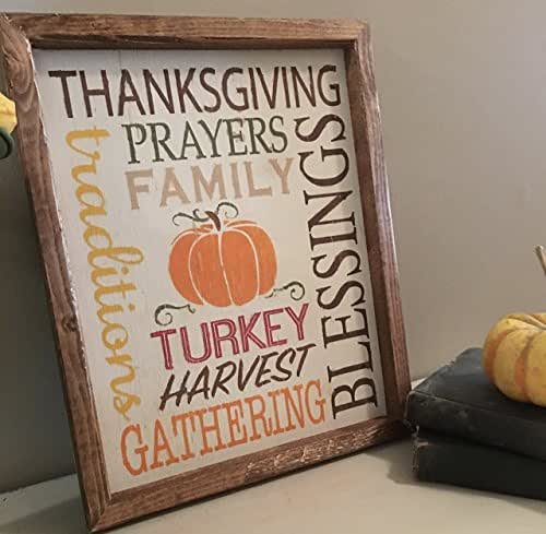 """Thanksgiving Wood Sign - Fall Wood Sign - Home Decor Sign - Rustic Wood Sign-Farmhouse Decor 12 3/4"""" x 10 1/4"""""""