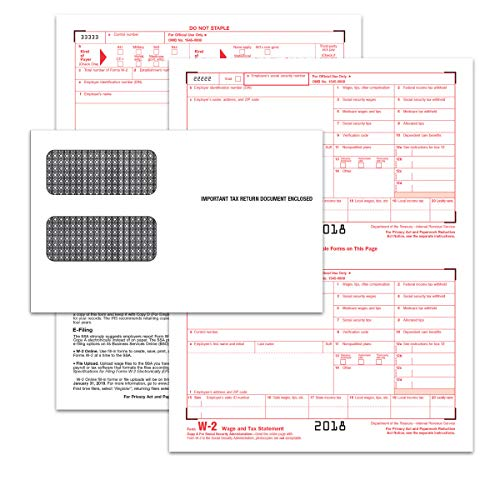 Transmittal Envelope - TOPS W-2 Inkjet/Laser Tax Forms Kit for 2018-6-Part Form Sets for 24, W-3 Transmittal Form, 24 Security envelopes (TX22904KIT)