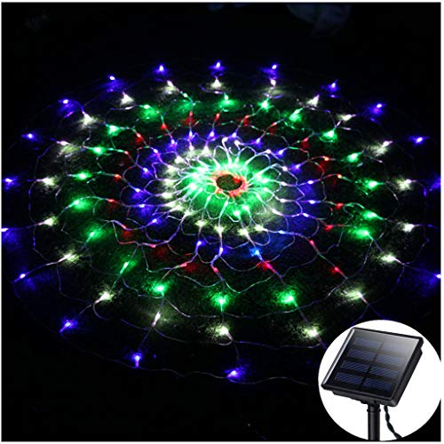 Outdoor Shrub Lights,Solar Round Spider Web Lights,Diameter:6.6ft,200LED,Dark Green Cable,8 Mode,Net Mesh Lights String for Halloween Bush Garden Patio Christmas Tree Door Wall Lawn Tent - Multicolor]()