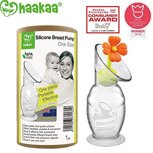 Haakaa Silicone Manual Breast Pump with Suction Base and Flower Stopper 100% Food Grade Silicone BPA PVC and Phthalate Free (5oz/150ml) (Orange)