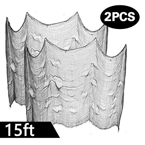 Powerful 2PCS Super Size in Halloween Creepy Gray Black Purple White Cloth for Houese and Outdoor Party Supplies & Decorations (2 X 5yd(15ft) X 80 in, Gray)