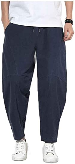 EnergyWD Men Harem Pants Cotton Linen Elastic Waist Oversized Wide Leg Pants