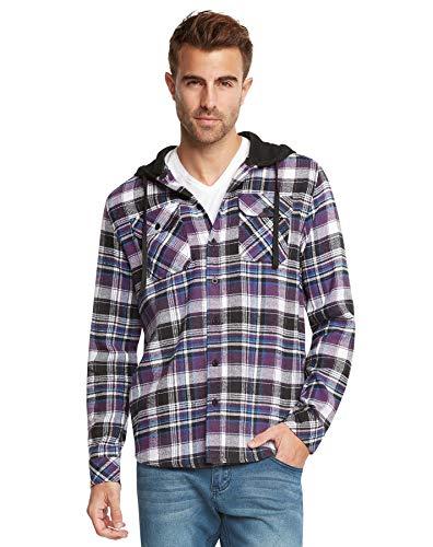 9 Crowns Men's Lightweight Hoodie Plaid Flannel Shirt-Black/PURP-S