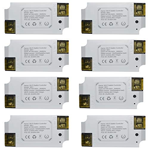 WiFi Switch Smart Switch With Remote Control Wireless 15A Electrical Switch for Household Appliances Compatible with Alexa, Google Assistant, IFTTT, No Hub required (8 packs) ()