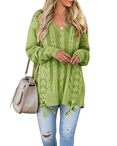 Womens Pullover Sweaters Plus Size Cable Knit V Neck Lace Up Long Sleeve Fall Jumper Tops Green