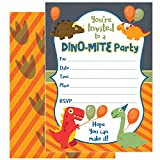 25 Dinosaur Party Invitations with Envelopes – These Kids Birthday Invitation Cards (5x7 inch) are a Great Way to Tell Everyone about Your Boys or Girls Dino Theme Party