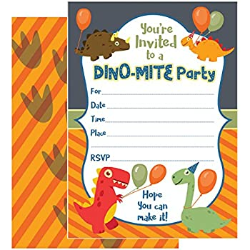ZOLCO Prints 25 Dinosaur Birthday Invitations With Envelopes These Kids Party Invitation Cards 5x7