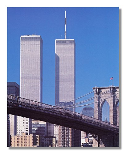 New York City Twin Tower - New York City The Twin Towers Rising Above Skyline Pre-09/11/01 Wall Picture Framed Art Print