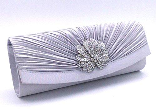 Womens Pleated Satin Diamond Crystal Fashion Clutch Evening Bag Wedding Bridal Clutch Purse With Rhinestones Silver by ANSAN